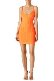 Orange Kollete Novelty Dress by Hervé Léger