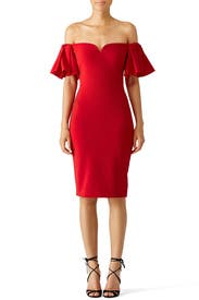 Red Off Shoulder Ruffle Dress by Badgley Mischka for $60 - $75 ...