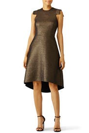 Antique Gold Jacquard Dress by Halston Heritage