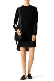 Georgette Insert Sweater Dress by Halston Heritage