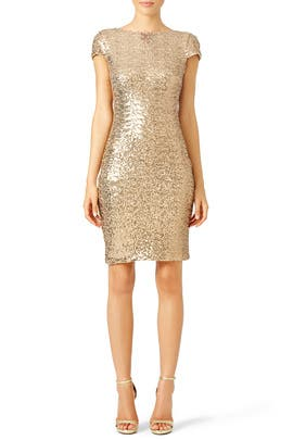 Gold Swank Sequin Sheath by Badgley Mischka