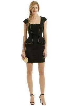 Shine Like Gold Peplum Dress by Marchesa Voyage