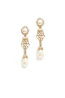 Gold Shadow Pearl Bouquet Earrings by Oscar de la Renta
