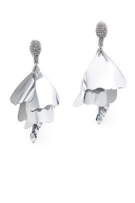 Silver Impatients Flower Drop Earrings by Oscar de la Renta