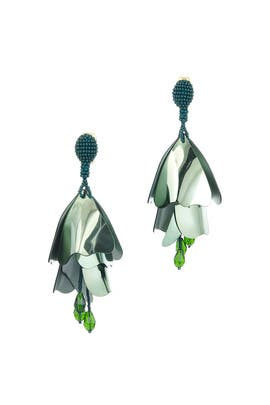 Fern Impatiens Flower Drop Earrings by Oscar de la Renta