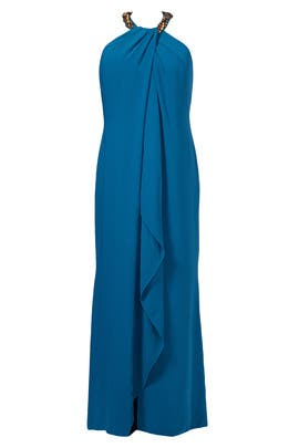 Carmen Marc Valvo - Teal Necklace Gown