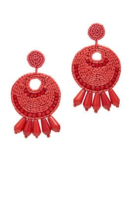 Dark Coral Gypsy Hoop Earrings by Kenneth Jay Lane