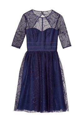 Navy Lines Dress by ML Monique Lhuillier