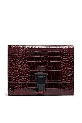 Embossed Nokki Hand Clasp Clutch by Opening Ceremony Accessories