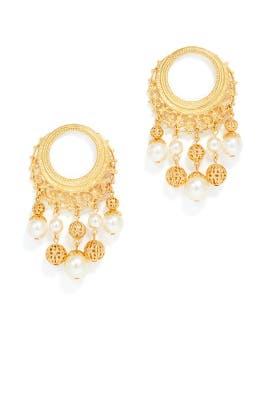 Golden Pearl Earrings by Ben-Amun