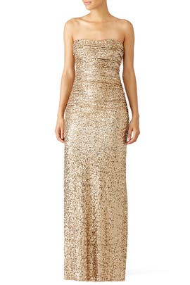 Badgley Mischka Gold Glitterati Gown