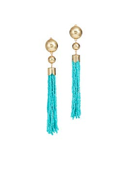 Turquoise Beaded Duster Earrings by Ettika