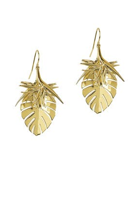 Gold Spike Leaf Earrings by Noir Jewelry