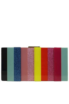 Multi Stripe Resin Minaudiere by Sondra Roberts