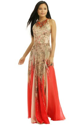 Matthew Williamson - Coral Halter Getaway Gown