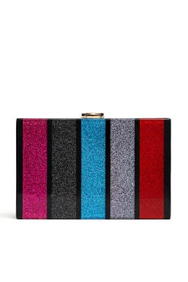 Glitter Striped Clutch by Milly Handbags