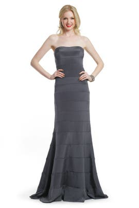 Nicole Miller - Charcoal Strips Strapless Gown