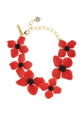 Red Painted Flower Necklace by Oscar de la Renta