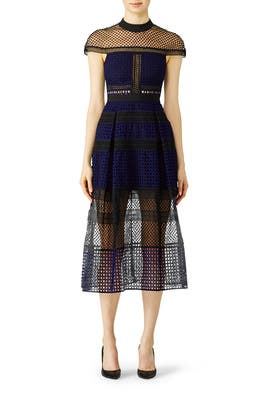 Crosshatch Midi Dress by Self-portrait