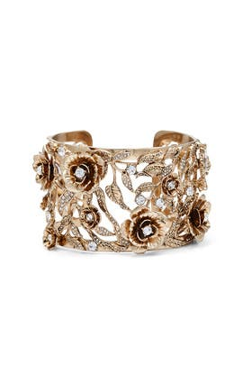 Gold Floral Enchanted Cuff by Marchesa Jewelry