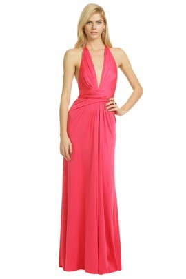Issa - Plunging Pink Wrap Gown