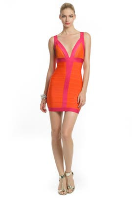 Citrus Flamingo Dress by Hervé Léger
