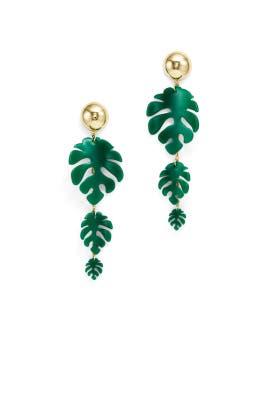 Green Palm Leaf Earrings by Ettika