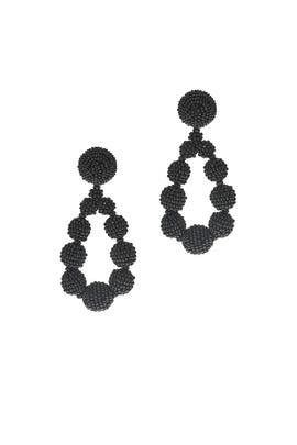 Black Beaded Teardrop Earrings by Sachin & Babi Accessories