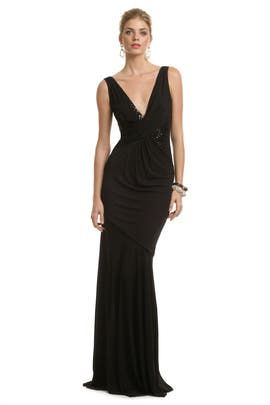 Black Seductive Sequin Gown by David Meister