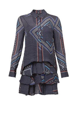Midnight Paisley Shirtdress by 10 CROSBY DEREK LAM