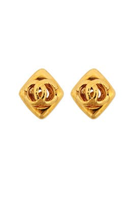 Vintage Chanel CC Diamond Earrings by WGACA Vintage