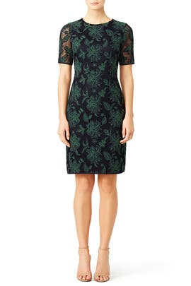 Blue Lace Applique Fishnet Sheath by Tory Burch