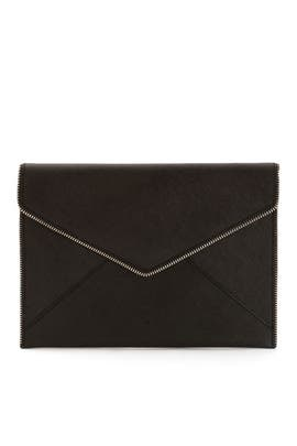 Black Solid Leo Clutch by Rebecca Minkoff Accessories