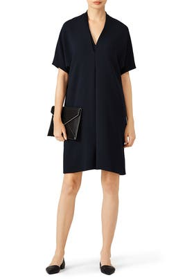 Coastal Crepe Elbow Sleeve Double V Dress by VINCE.