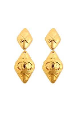 Vintage Chanel Quilted Diamond Drop Earrings by WGACA Vintage