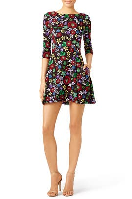 Black Floral Dress by Suno