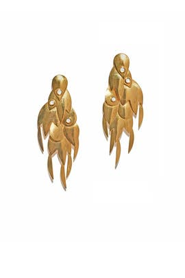 Gold Feather Earrings by Lizzie Fortunato