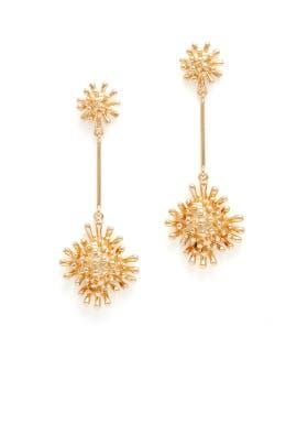 Gold Sun Burst Earrings by RJ Graziano
