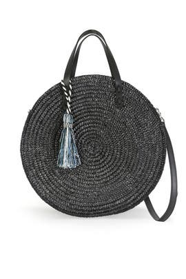 Black Straw Circle Tote by Rebecca Minkoff Accessories