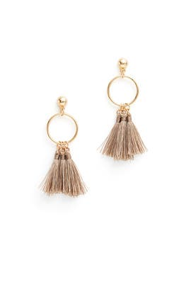 Tan Tassel Hoops by Elise M.