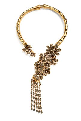 Gold Drop Flower Necklace by Oscar de la Renta