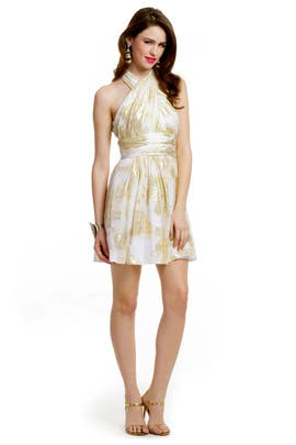 Mark & James by Badgley Mischka - Ivory Lurex Halter Dress