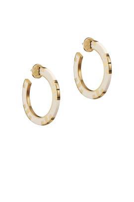 Ivory T-Stripe Hoop Earrings by Tory Burch Accessories