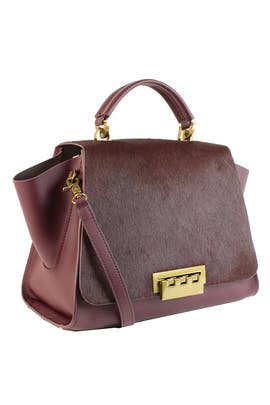 Wine Haircalf Eartha Iconic Handbag by ZAC Zac Posen Handbags