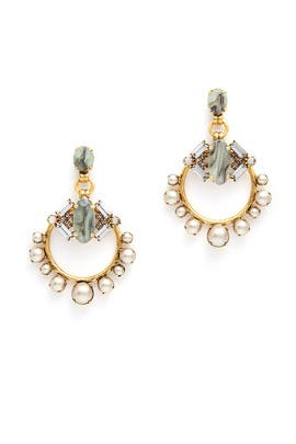 Grey Pearl Hoop Earrings by Elizabeth Cole