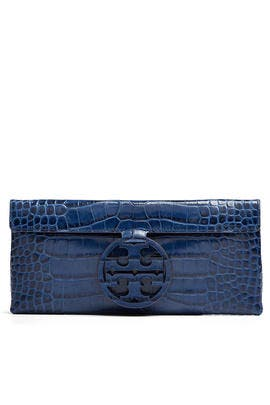 Navy Miller Embossed Clutch by Tory Burch Accessories