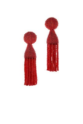 Cinnabar Short Tassel Earrings  by Oscar de la Renta