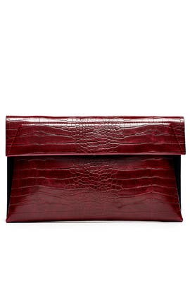 Wine Red Karima Clutch by Christian Siriano Handbags