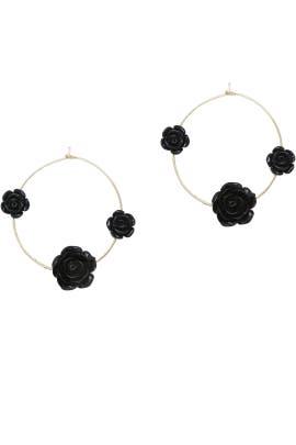 Black Roses Hoop Earrings by Ettika