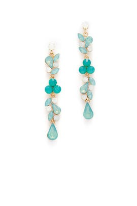 Green Crystal Trickle Drop Earrings by Slate & Willow Accessories
